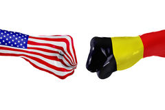 USA and Belgium flag. Concept fight, business competition, conflict or sporting events Stock Photos