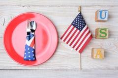 USA-Block-Flagge und Platte Stockfotografie