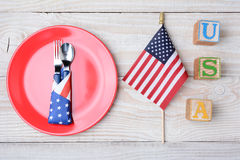 USA Blocks Flag and Plate Stock Photography