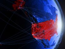 USA on blue blue digital Earth. USA on blue digital planet Earth with network. Concept of connectivity, travel and communication. 3D illustration. Elements of royalty free stock photos