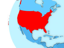 USA on blue globe. Map of USA on simple blue. 3D illustration Royalty Free Stock Photo