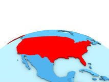 USA on blue globe. USA in red on simple blue political globe. 3D illustration Stock Image