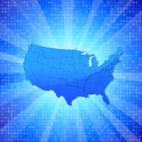 USA on blue glowing background with circular pattern Stock Photos