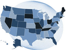 Usa blue map with globe. Usa map with states and blue globe as background stock illustration