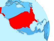 USA on blue political globe. Map of USA on simple blue political globe. 3D illustration Royalty Free Stock Image