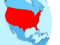 USA on blue political globe. Map of USA on blue globe with visible country borders and countries in different shades of blue. 3D illustration Stock Photos