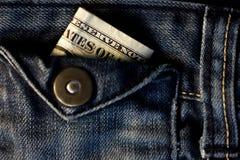 USA-bockar i ett jeansfack Arkivbilder