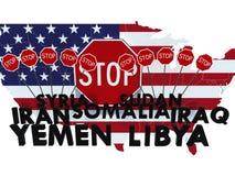 USA bommade för medborgare av sju muslimska majoritetsländer från ente Royaltyfri Bild