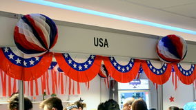 USA booth on Charity bazaar 2014, stock footage