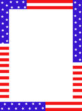 USA border. Blue and red patriotic stars and stripes page border / frame design stock illustration