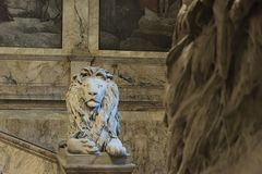 Lions on the staircase of Boston Pubic Library. At the turn of t stock photography