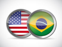 Usa and brazil union seals illustration design Stock Images