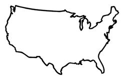 USA Broad Outline Map. A broader outline map of the United States of America over a white background stock illustration