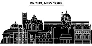 Usa, Bronx, New York architecture vector city skyline, travel cityscape with landmarks, buildings, isolated sights on Stock Image