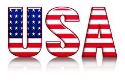 USA-Buchstaben, Wort mit Flaggen-Hintergrund Stockbilder