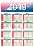 USA calendar grid 2019 in vector Royalty Free Stock Photos