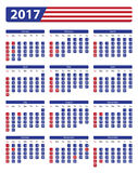 USA calendar 2017 with official holidays. And non-working days - week starts on sunday Royalty Free Stock Images