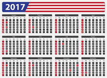 USA calendar 2017 - official holidays. USA calendar 2017, official holidays and non-working days - week starts on sunday Royalty Free Stock Photo