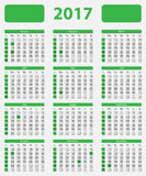 USA calendar 2017, with official holidays. And non-working days - week starts on sunday Royalty Free Stock Photos