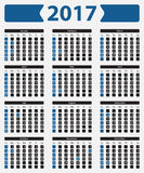 USA calendar 2017 - with official holidays. And non-working days, week starts on sunday Stock Images
