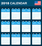 USA Calendar for 2018. Scheduler, agenda or diary template. Week starts on Sunday.  Royalty Free Stock Image