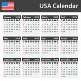 USA Calendar for 2018. Scheduler, agenda or diary template. Week starts on Sunday Stock Photo