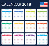USA Calendar for 2018. Scheduler, agenda or diary template. Week starts on Sunday Royalty Free Stock Photo