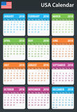 USA Calendar for 2018. Scheduler, agenda or diary template. Week starts on Sunday Royalty Free Stock Images