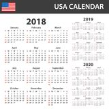 USA Calendar for 2018, 2019 and 2020. Scheduler, agenda or diary template. Week starts on Sunday Royalty Free Stock Image
