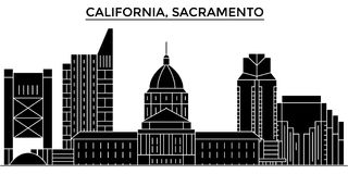 Usa, California  Sacramento architecture vector city skyline, travel cityscape with landmarks, buildings, isolated sight Stock Photo