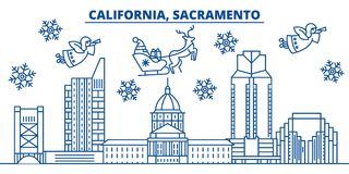 USA, California, Sacramento winter city skyline. Merry Christmas and Happy New Year decorated banner. Winter greeting Stock Images