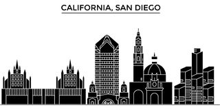 Usa, California San Diego architecture vector city skyline, travel cityscape with landmarks, buildings, isolated sights Stock Image
