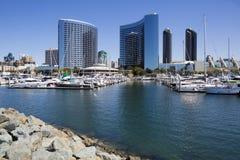 USA - California - San Diego - embarcadero marina park and Marriott Marquis. USA - California - San Diego - the embarcadero marina park and Marriott Marquis stock photography