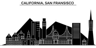 Usa, California, San Francisco architecture vector city skyline Royalty Free Stock Images