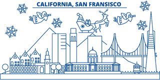 USA, California, San Francisco winter city skyline. Merry Christmas and Happy New Year decorated banner. Winter greeting vector illustration