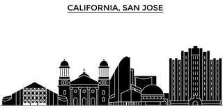 Usa, California San Jose architecture vector city skyline, travel cityscape with landmarks, buildings, isolated sights Royalty Free Stock Image