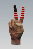 USA Camo Peace Sign. USA Flag Camouflage Peace Sign Royalty Free Stock Photography