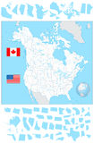 USA and Canada blank map with water objects and its states Stock Photos