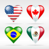 USA, Canada, Brazil and Mexico heart flag set of American states Stock Photos