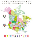 USA and Canada detailed political map with flags and navigation Royalty Free Stock Photo