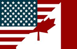 USA and Canada flags. Flags in flat style. Flag Canada. Flag USA stock illustration