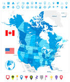 USA and Canada large detailed political map in colors of blue an. D map pointers Stock Photography