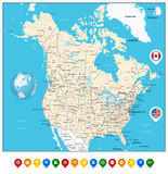USA and Canada large detailed political map with map pointers Royalty Free Stock Photography
