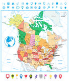 USA and Canada large detailed political map with roads and navig Royalty Free Stock Image