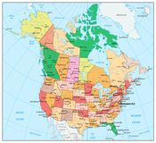 USA and Canada large detailed political map with states, provinc Royalty Free Stock Photography