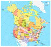 USA and Canada large detailed political map. Vector illustration Stock Images