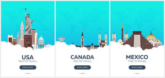 USA, Canada, Mexico. Time to travel. Set of Travel posters. Vector flat illustration. Royalty Free Stock Image