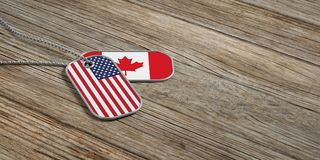 USA and Canada military relations, Identification tags on wooden background. 3d illustration. USA and Canada military relations, Identification dog tags on Stock Photography