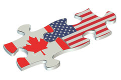 USA and Canada puzzles from flags. 3D Royalty Free Stock Image