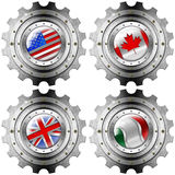 USA Canada UK Italy Gears Metal Flags Royalty Free Stock Images